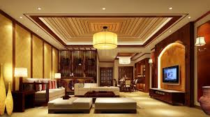 antique chinese living room idea lighting night rendering home