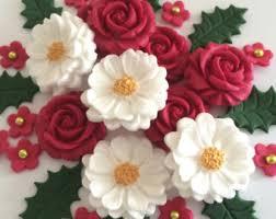 Christmas Cake Decorations Flowers by Christmas Cake Decoration Etsy