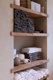 Wood Bathroom Shelves by Small Space Solutions Recessed Storage Small Shelves Shelving