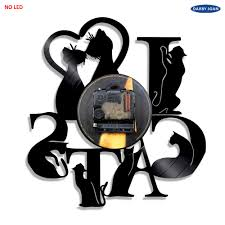 cartoon no alcohol love cats cd vinyl led lighting wall clock interior art
