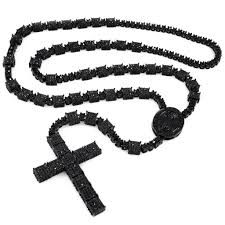 black rosary 14k black gold iced out rosary square niv s bling