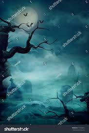 vintage moon pumpkin halloween background halloween design background spooky graveyard stock photo