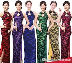 5176 chinese dresses evening dress open fork lace chinese style