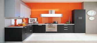 alluring modular kitchen with l shape featuring black color