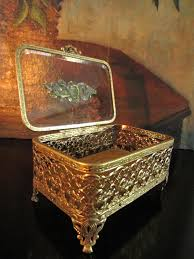 Art Deco Furniture Designers by Matson Gilt Brass Art Deco Footed Filigree Glass Cover Jewelry Box