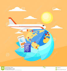 Online World Map by Globe World Map Travel Vacation Trip Booking Air Stock Vector