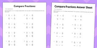 comparing and ordering fractions and mixed numbers worksheet year 6 compare fractions activity sheet 1 fractions