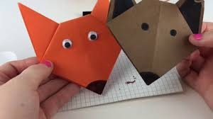 diy bookmark origami fox and dog d i y for kids youtube