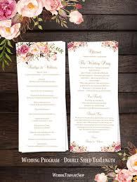 sided wedding programs slim wedding programs tea length order of service wedding