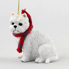 westie ornament scarf figurine