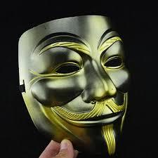 Anonymous Halloween Costume Antique Mask Halloween Party Mask Gold Eyeline Beard Vendetta