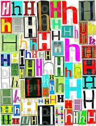 multicolor single letter h h printable digital single letter