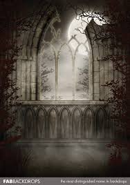 haunted castle window halloween backdrop