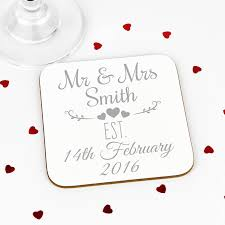 wedding coasters personalised mr and mrs wedding coasters by andrea fays
