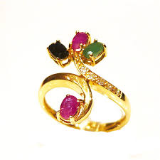 ruby emerald rings images Ruby emerald and sapphire 14ct gold crossover vine ring r3186 jpg