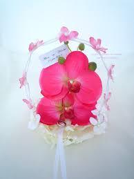fleur artificielle mariage porte alliance orchidée blanc perle fleur
