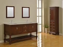Bathroom Vanities With Matching Linen Cabinets Bathroom Decorating Using Solid Cherry Wood Bathroom Vanity With