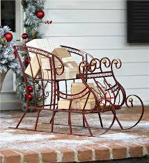 metal sleigh outdoor decorations