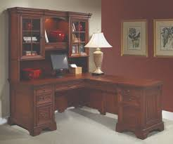 l shaped computer desk and return classic home office furniture in cherry brown finish 2852