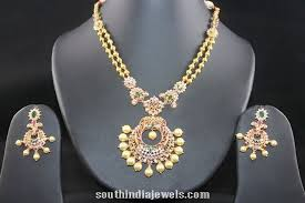 necklace designs with stones images Antique cz stone necklace design south india jewels jpg