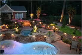 backyards ergonomic pool landscape lighting ideas beautiful