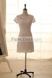 vintage inspired french corded lace wedding dress short dress knee