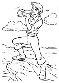 prince eric flute coloring pages kids ezx printable