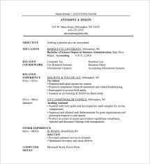 resume for internship exle sle resume for accounting internship shalomhouse us