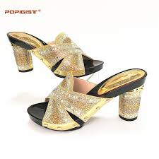 wedding shoes gold color hot selling gold color pu leather with rhinestones shining