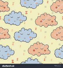 seamless pattern cartoon sleeping clouds on stock vector 276823748