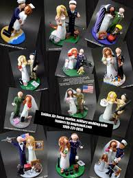 soldier bride and groom wedding cake topper custom made military