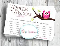 Words Of Wisdom Cards Baby Shower Game Words Of Wisdom Advice Cards Pink Owl