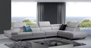 casa quebec modern light grey italian leather sectional sofa