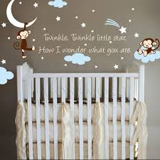 monkey wallpaper for walls monkey clouds stars moon quote twinkle star for nursery kids baby