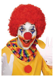 scary clown halloween costumes red clown wig
