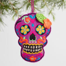 embroidered fabric skull ornaments set of 3 world market