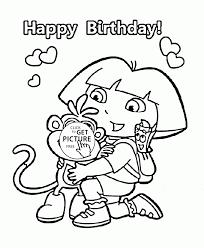 happy birthday dora explorer coloring pages jerzy decoration