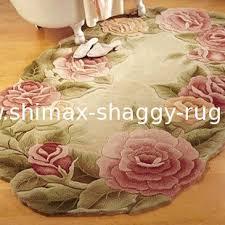 Flower Area Rug Wool Area Rug Pink Color Flower Design Oval Shape 1901