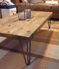 rectangular wood hairpin coffee table rustic vintage industrial solid wood coffee table bare metal hairpin