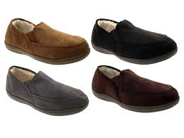 mens slippers moccasins mules faux suede fur lined faux sheepskin