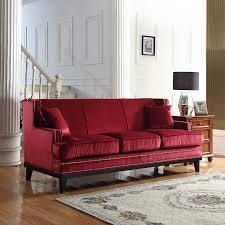 amazon com modern soft velvet sofa with nailhead trim detail red