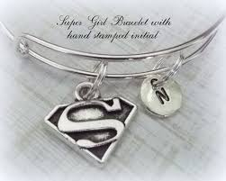 friend gift supergirl personalized bracelet initial jewelry