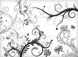 classical flowers background black white decoration free vector in