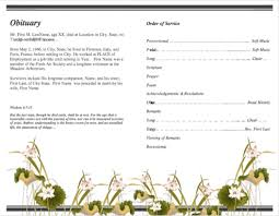 funeral programs order of service program template