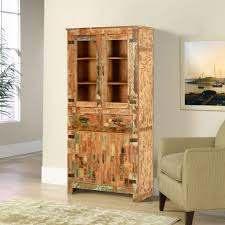 rustic wood display cabinet rustic reclaimed wood 2 drawer tall display cabinet