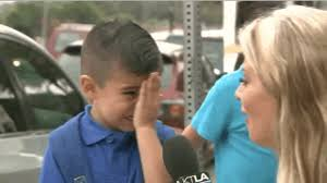 a little boy started sobbing after a reporter asked him if he