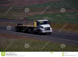 used volvo semi white volvo semi truck empty flatbed trailer stock photo image