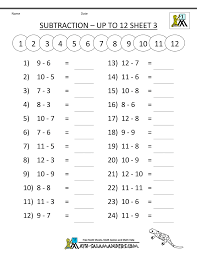 math subtraction worksheets 1st grade