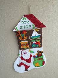 Felt Christmas Stocking Tree Decoration by Completed Vintage Bucilla Sequin And Felt By Vintagefeltandsequin
