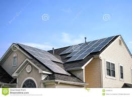 solar panels on roof renewable green energy solar panels on house roof royalty free